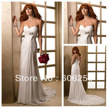 Sweep Train Sweetheart Cheap Price Ivory Chiffon Bridal Gown Beach Wedding Dresses 2013(China (Mainland))