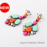 Min Order $10,2013 Bohemia Fashion Designer Jewelry,Hit Color Geometry Rhinestone Drop Earring,Jeweled Garland Earrings,E44