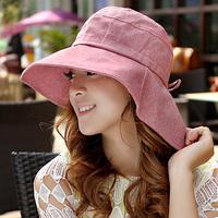 Hat female summer 100% cotton plain sunbonnet neck protection uv sunscreen beach cap large