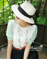 Hat women's summer folding white wide brim beach strawhat fedoras sun-shading hat