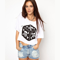 2013 Haoduoyi skull dice print short sleeve o-neck white t shirt women