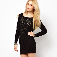 Haoduoyi decorative pattern laser cut out formfittingly cutout long sleeve black one piece dress