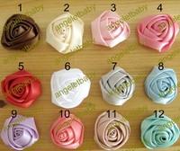 "Free shipping!100pcs/lot 1.5"" Mini Satin Roses Flowers multilayer Heads Rosette Flowers Fo Hair Ribbon Rose"