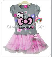 girl hello kitty KT cat dresses girl's Sleeveless sundress Princess dresses bowknot tutu dress childrens clothing