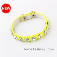 Min Order $10,Casual Fashion Vintage Retro Charm Punk Fluorescent Color Rhinestone Leather Bracelets Jewelry,B47