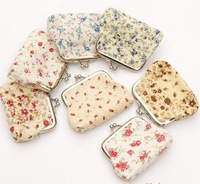 Wholesale beautiful #5 small flower design small wallet bag / coin purse / key holder / coin bag, 24pcs/lot