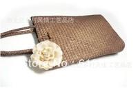 Fashion retro Sen female line Pastoral mat woven bag Korean version of the beach bag