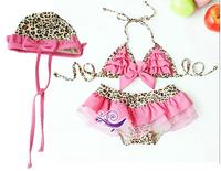 3pc/set,Retain!2013Fashion baby Girls Toddler Swimwear Leopard Bikini Kids Bathing Suit,Summer Swimsuit In 4Sizes:S,M,L,XL