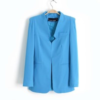 Free Shipping 2013 Autumn Women's Fashion Stand Collar Shoulder Pads Slim Suit Blazers Jacket
