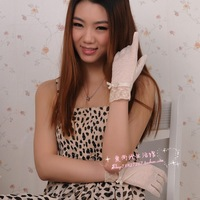 Short design lace bow thin sunscreen gloves sweat absorbing perspectivity female anti-uv gloves