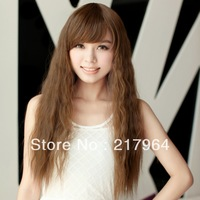 Female wig long roll girls fluffy women's wig bangs broken long curly hair
