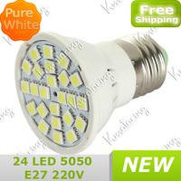 New Bulb AC 220V~240V Led Light Pure White and warm white Saving Energy E27 300lm 24pcs 5050SMD Lamp