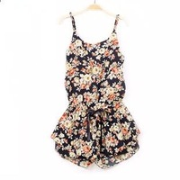 Freeshipping fancy 2014 chiffon shorts jumpsuit sexy strap ruffles one piece shorts print floral overalls plus size XL jumpsuit