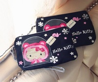 Promotions!!Hot Sale 2013 free shipping  new arrival hello kitty Lovely silk surface compact Coin Purses