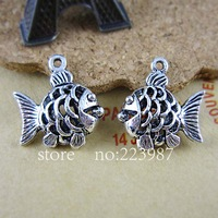Free shipping 30pcs Jewelry Findings Alloy Ancient silver Retro 17.5*15.5*5.5mm Three-dimensional hollow fish  pendant charms
