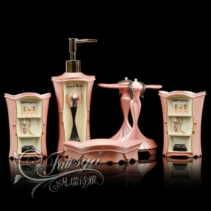 Wedding gift bathroom supplies kit wash set resin bathroom phlobaphene five pieces set of woman(China (Mainland))
