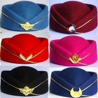Band stewardess cap female military beret hat performance cap uniform hat cap
