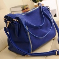 [Bag Ocean]2013  women's bag scrub fashion genuine leather bag vintage color block navy blue shoulder bag casual cross-body  bag