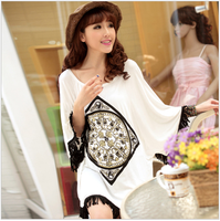 free shipping 2014 Spring maternity one-piece dresses  maternity clothing summer fashion tassel batwing sleeve top
