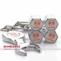 Free shipping!(4PCS)metal Tire Valve Stem Caps easy DIY decoration,Car Logo emblem   Tire Valve Caps for DODGE,VC244