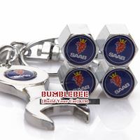 Free shipping!(4PCS)metal Tire Valve Stem Caps easy DIY decoration,Car Logo emblem   Tire Valve Caps for SAAB,VC253
