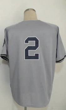 Hot SaleFree Shipping #2 Derek Jeter Men's Authentic Road Grey Cool Base Baseball Jerseylike(China (Mainland))