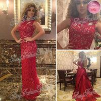 Arabia Muslism Myriam Fares Dress O-Neck Off Shoulder A-Line Floor Length Lace Custome Celebrity Party Dresses