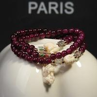 Bracelet lucky taohuajiangriver mascot multi-layer natural stone crystal beaded bracelet