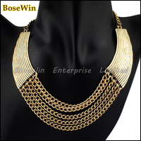 Fashion Vintage  Metal Cross Multilevel Chains Bib Statement Choker Necklace For Women Dress,Gold and Silver Colors CE1104