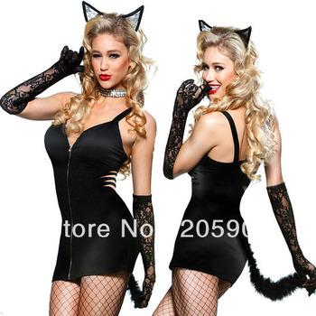 Free shipping 12pc/lot,Fancy dress costume Wholesale 2013  Women Party costume 2PC Black Naughty Zipper Front Kitty Dress 8659