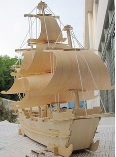 Sailing boat wool handmade diy assembled model puzzle toy three-dimensional puzzle