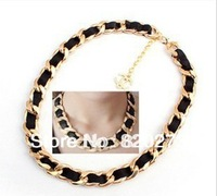 Free shiping Fashion jewelry  woven leather cord necklace chain necklace Hot sale