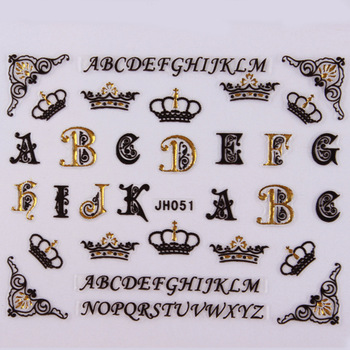 18 Designs Korean Style Nail Sticker 3D Black With Gold Rhinestone Crown Letter JH Free Shipping