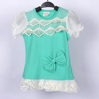 2014 Real Rushed Solid Roupas Meninos Free Shipping Wholesale 4pcs/lot Four Layers Of Collar Girl's T-shirt Hubble-bubble Sleeve