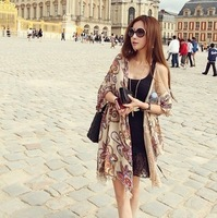 Vintage national trend spring and autumn scarf female summer sun cape cotton silk scarf