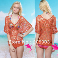 Free shipping Orange Hollow-out Knitted Smock Wear Whosale 12pcs/lot Mix order 2013 Women Sexy swimwear 25139
