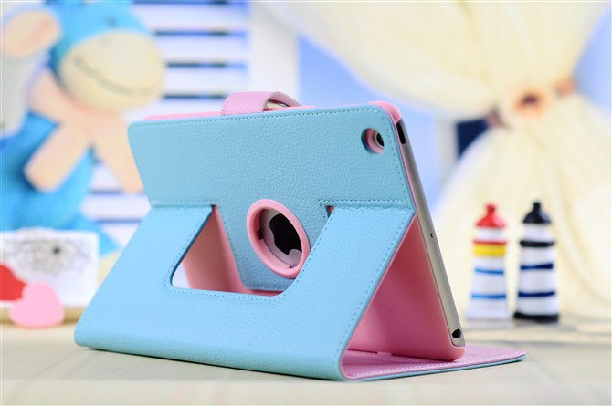2013 New Fashion Smart case for ipad mini protective sleeve Korean hit color 360 degree rotating leather for ipad mini leather(China (Mainland))
