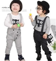 TZ-027,Freeshipping factory outlet children set casual boy/girl suspender pants set 2 pcs autumn kids wear Wholesale and Retail