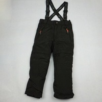 High quality boy skiing pants outdoor adjustable cotton-padded trousers bib black pants winter overall