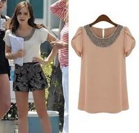 2014 Summer Women Loose Chiffon Shirt Beading Ruffle Sleeve Woman Tops Ladies O-Neck All-Match Shirt Plus Size S-XXL T888A5