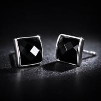 Free Shipping Agate earring 925 silver stud earring fashion lovers stud earring black agate square stud earring