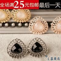 Free Shipping Female fashion rhinestone agate stud earring anti-allergic accessories crystal in ear