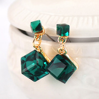 Free Shipping Charming crystal double dark green square stud earring earrings fashion ed0254