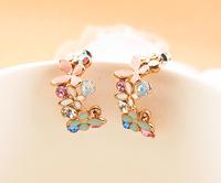 Free Shipping Accessories earring butterfly flower small ear buckle stud earring female anti-allergic