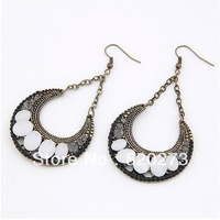 FREE SHIPING Fashion Retro fashion earrings water drop earring  Hot sale crescent style