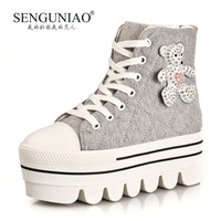 Bird 2013 spring rhinestone cartoon bear PU canvas high platform