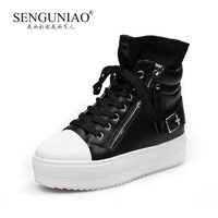 Bird 2013 female zipper strap buckle decoration printing leather platform stripe platform shoes