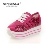 Bird 2013 shallow mouth pointed toe wedges strap platform casual sports rollaround elevator platform women's shoes