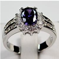 Sz 6/7/8/9/10Brand new rings 2013 amethyst sapphier men'sand  lady's 10KT white Gold Filled Ring