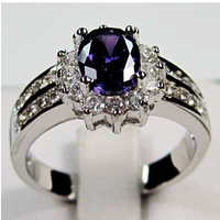 Sz 6/7/8/9/10Brand new rings 2013 amethyst sapphier men'sand  lady's 10KT white Gold Filled Ring